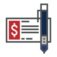 red and blue check writing icon