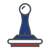 red and blue stamp icon