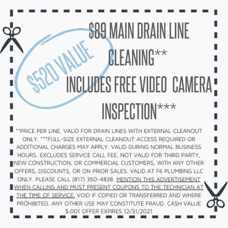 $89 DRAIN CLEANING Coupon