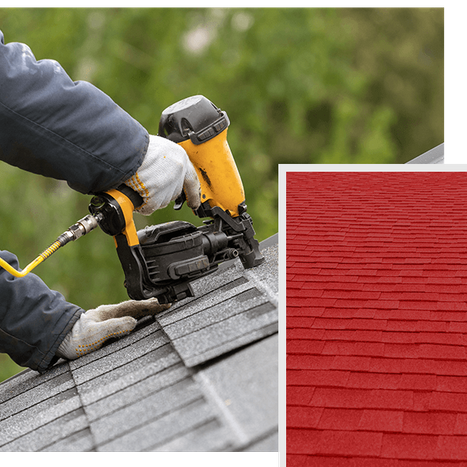 Collage of a roofer laying shingles on new roof