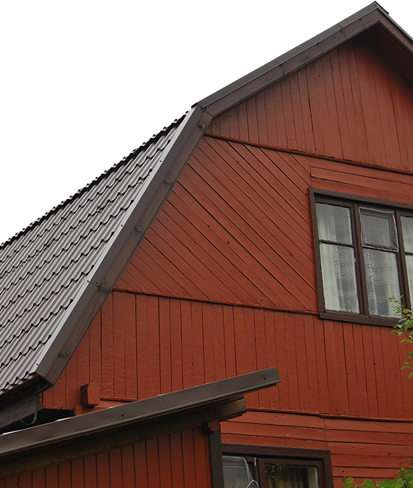 Metal roof on barn-style building