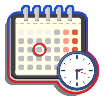 Graphic of calendar and clock