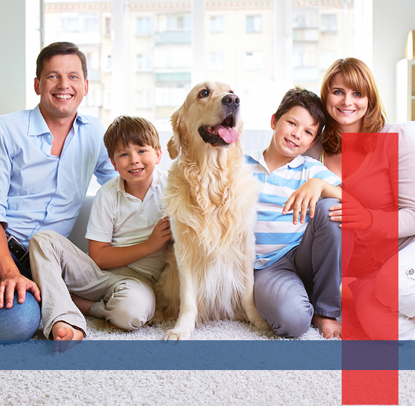 Image of a happy family enjoying their home.