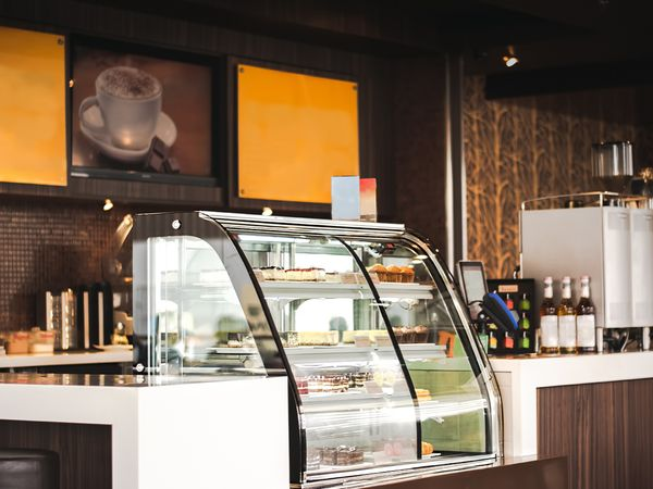 Cake Display Fridges in Deli or Coffee Shop.