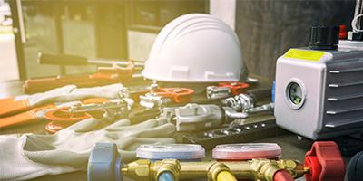 Hvac trade tools on floor
