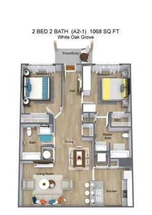 2 BED 2 BATH  (A2-1)  1068 SQ FT - White Oak Grove - 3D Floor Plan (1).jpg