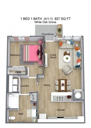1 BED 1 BATH  (A1-1)  827 SQ FT - White Oak Grove - 3D Floor Plan (3).jpg