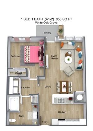 1 BED 1 BATH  (A1-2)  853 SQ FT - White Oak Grove - 3D Floor Plan (1).jpg