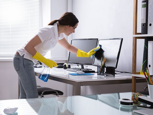 blue and green cleaning corp dusts and offers a healthier household