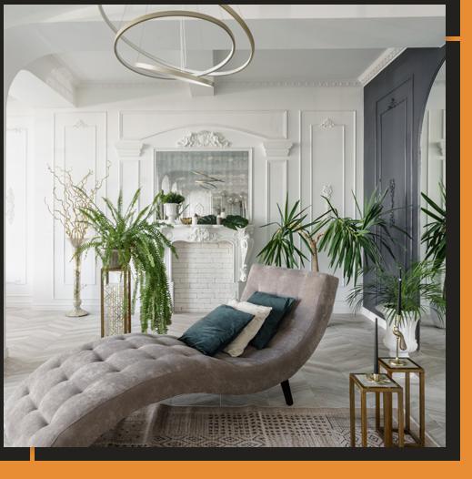 Living Room with Stucco Walls